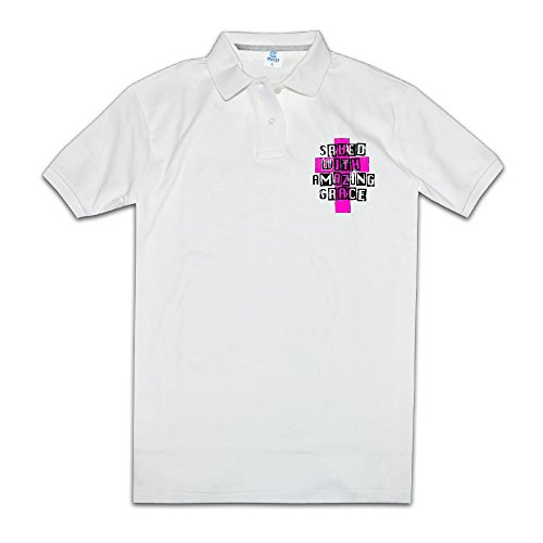 Saved With Amazing Grace Christian Mans Polo Style S White
