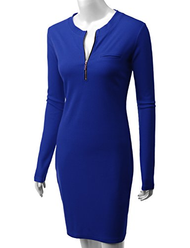 Doublju With royalblue Knit Womens Zipper Front Long Sleeve Ribbed Dress Cwdsd079 YcYq1wR4r