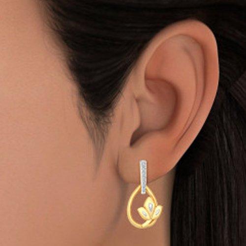 Or jaune 18K 0.09CT TW White-diamond (IJ   SI) Pendants d'oreilles