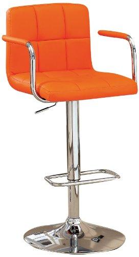 Furniture of America Modern Chelsea Leatherette Swivel Bar Stool, Orange Review