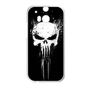 HTC One M8 Cell Phone Case White Bloody The Punisher Skull LogoO6766108