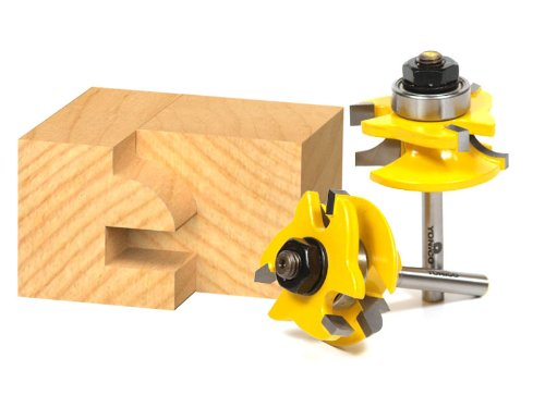 Yonico 12238q Round Over 2 Bit Rail and Stile Router Bit Set 1/4-Inch Shank