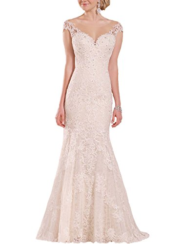 Lang Meerjungfrau Elfenbein Kappen Perlen Hochzeitskleider Brautkleider H¨¹lse Elegant Damen Kristall Hochzeitskleider Changjie x6qHTzP