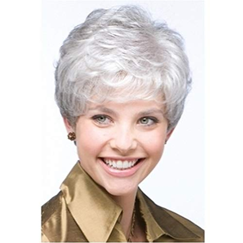 NAWIGS Ladies Silver Grey Short Curly Wigs for Old Women Deep Wavy Fluffy Cosplay Costume Synthetic Full Hair Wig + Wig Cap 80