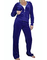 ICE (6327-13) Womens Soft Velour Hooded Tracksuit Royal blue