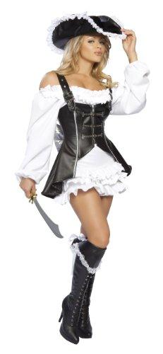Roma Costume 4 Piece Pirate Maiden Costume, Black/White, Small/Medium (4pc Pirate Maiden Costume)