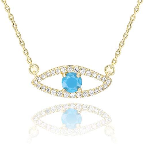 KISSPAT 14 K Gold Natural Gemstone Evil Eye Pendant Necklace Jewelry for Women (Zircon-G)