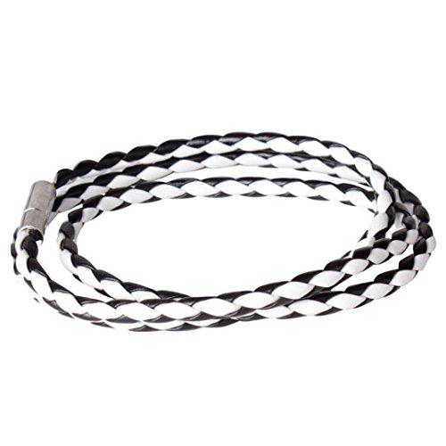 Price comparison product image JSPOYOU Promotions Women Leather Bracelet Women Men Black Leather Interlaced Cuff Bangle Wristband Bracelet (C)