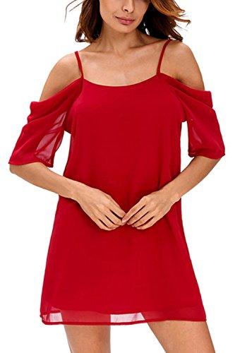 Con cuello en v profundo hueco de las mujeres túnica camisas Casual Vestido Red