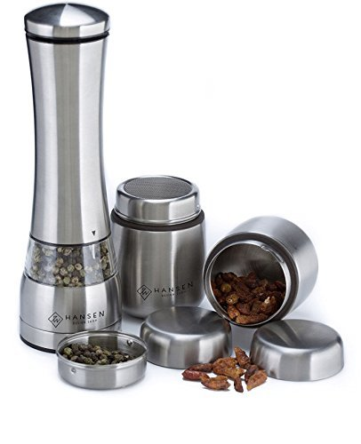 Chili Mill (Electric Pepper Grinder, Supplementary 2 Stainless Steel Spice Containers Set – Adjustable Spice Mill with Ceramic Burr – Suitable as Family.)