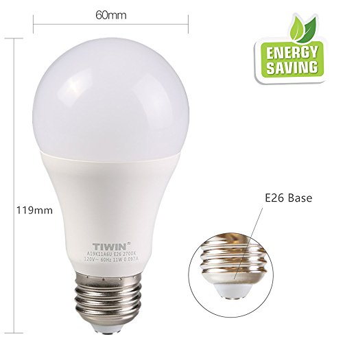 TIWIN LED Light Bulbs 100 watt Equivalent (11W),Soft White (2700K), General Purpose A19 LED Bulbs,E26 Base,UL Listed, Pack of 6 by TIWIN (Image #3)