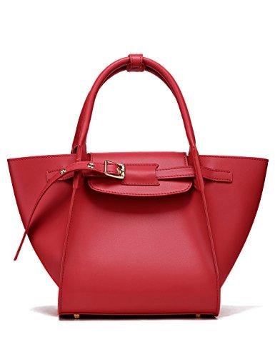 - LA'FESTIN Designer Leather Work Tote for Women Fashion Elegant Kelly Handbags Red - with Child Zipper Pocket & Leather Buckle