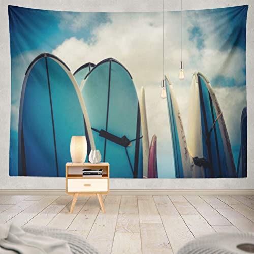 threetothree 60x80 Inches Tapestry Wall Hanging Interior Decorative Retro Vintage Hawaiian Surf Surfboard Board California Surfer for Bedroom Living Room Tablecloth Dorm