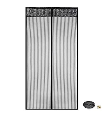 """Chephon Heavy Duty Magnetic Screen Door with High-Density Mesh Curtain and Full Frame Velcro Fits Door Size up to 37""""-82"""", Black"""