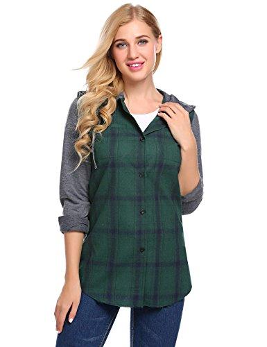 Lunir Womens Winter Long Sleeve Fleece Plaid Shirt Flannel Warm ()