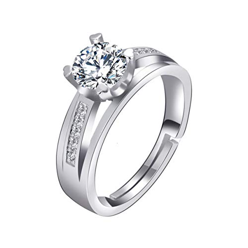 Orris Sterling Silver Big Diamond Prong-Setting Adjustable Free Size Fine Open Ring for Women Girls