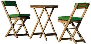 Stern 626750 conjunto de balcón Pablo, 2 sillas plegables, 1 mesa plegable ø 60 cm, incluyendo 2 conjuntos de cojines, cubierta de poliéster, verde oscuro