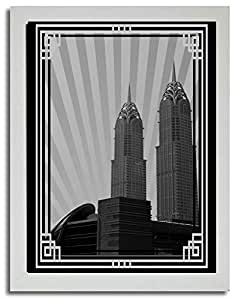 Al Kazim Towers Metro - Black And White With Silver Border No Text F03-m (a1) - Framed