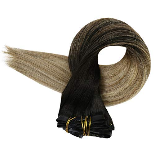 Full Shine Seamless Extensions Clip in Hair 8 Pcs 14Inch 100 Gram Balayage Clip in Remy Hair Extensions Dip Dyed Color #2 Fading to #8 Highlighted With Color #22 Blonde Seamless Clip in Extensions (Best Way To Strip Hair Colour)