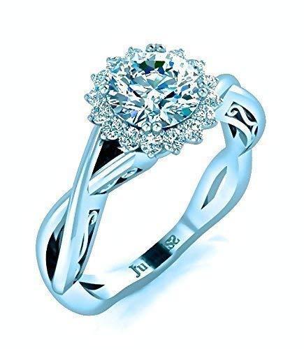 - Halo Diamond Engagement Ring Round 0.85 Tcw. Custom Braided Intertwined Shank 8 Prongs Crown Set 14K White Gold Jubariss Fine Jewelry