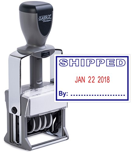 Classix by xStamper Heavy Duty Date Stamp with 'SHIPPED' Self Inking Stamp - 2 Color Blue/Red Ink