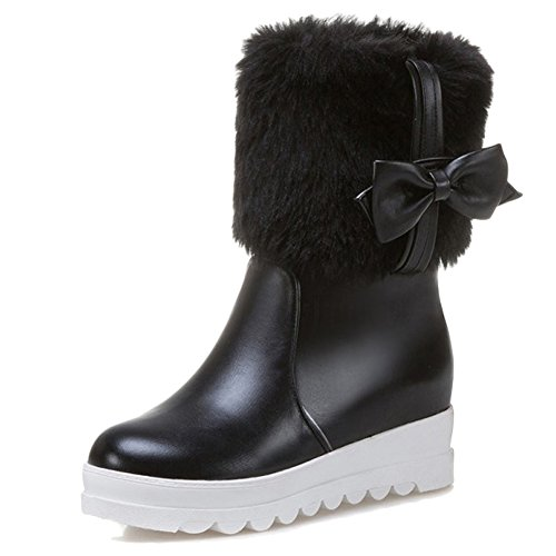 Minetom Cuir Des Femmes Classiques Bottes De Neige Mi-mollet Polaire Thermique Doublé Imperméable Hiver Chaussures Appartements Mode Simples Dames Confortables Noir