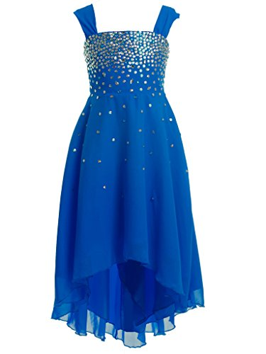 FAIRY COUPLE Girl's A-line Sparkling Beaded Hi-Lo Flower Girl Party Dress K0162 6 Royal (Girls Hi Lo Pageant Dresses)