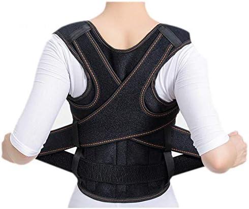 女性のための調節可能な背部姿勢矯正器肩腰部腰部サポート背中矯正ベルト、すべり止め、痛みの軽減、黒の防止 (Size : L)