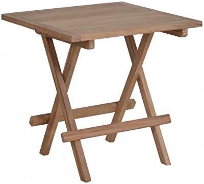 lünse Muebles de Jardín Teca Mesa Auxiliar de madera