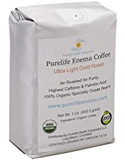 """PureLife Enema Coffee- 1 Lbs. - Pre-Ground Green Beans - Organic Ultra Light""""Gold"""" Air Roast-Ground-High Potency - Mold and Fungus Free - Non-Staining Formula"""