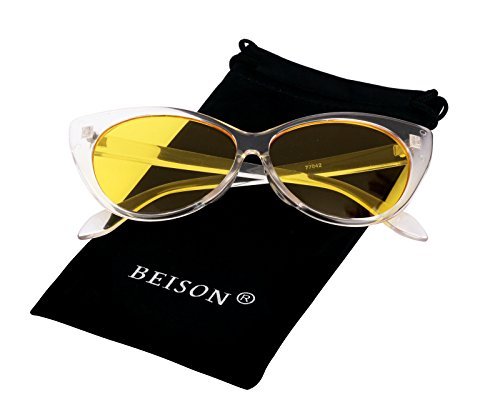 Beison Womens Cateye Glasses Sunglasses Tinted Lens UV400 Protection (Transparent, - Yellow With Tint Sunglasses