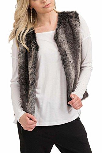 trueprodigy Casual Femme fourrure gilet fausse fourrure, vetements swag marque courte (sans manche & slim fit classic), veste mode fashion Couleur: gris 3673504-0403 Anthracite