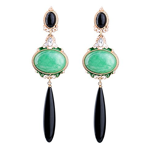 F-U Vintage Dangle Drop Earrings Oval Emerald Green Stone Black Crystal Teardrop Earrings (Emerald Vintage Crystal)