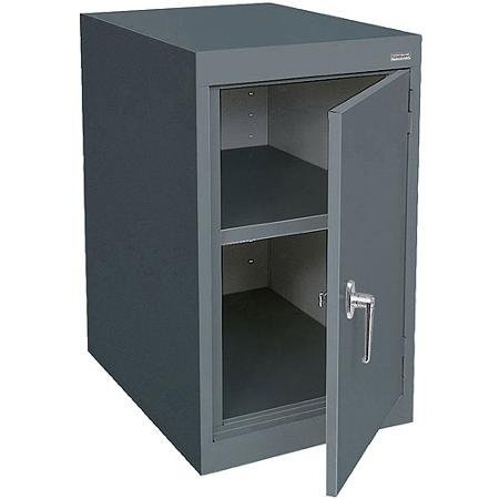 18''W x 24''D x 30''H, Elite Series Desk Height Storage Cabinet with Adjustable Shelf, Charcoal, 1 Fully Adjustable Shelf Plus Raised Bottom Shelf
