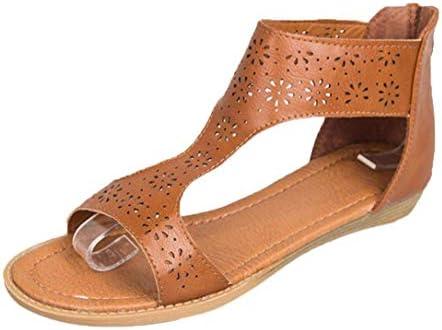 HhGold Sandalias de cuña con Plataforma Plana de Cuero para Damas Estilo  Gladiador Estilo Griego 9852b96fd9cb