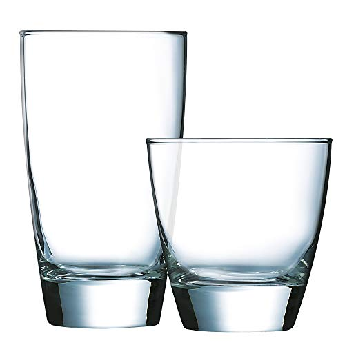 (Luminarc N7405 Elite 16 Piece Tumbler Set, 8-15 Ounce Coolers & 8-10.75 Ounce On The Rocks Glass, Clear)