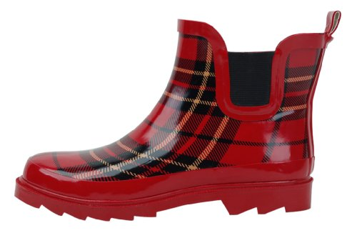 (Starbay Women's Short Ankle Red Plaid Rubber Rain Boots Size 10)