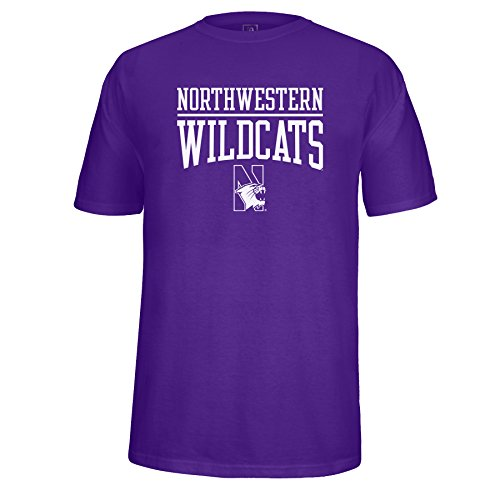 J America NCAA Northwestern Wildcats Adult Unisex School Name Over Logo Choice Tee, X-Large, Purple