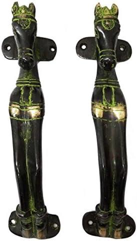 馬デザインドアハンドル真鍮材質メタルFigurineホームD ?Cor Indian Art by