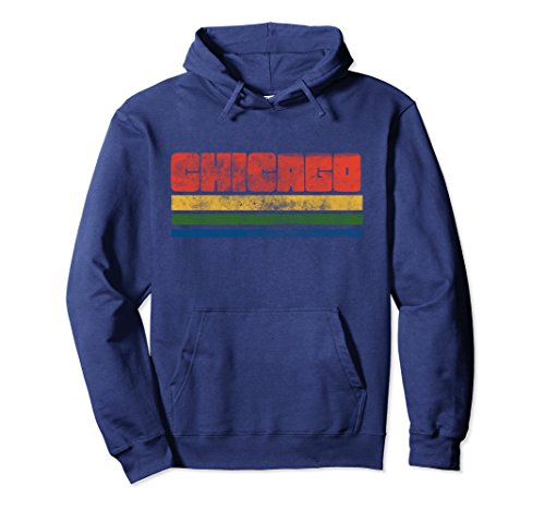 Unisex Vintage Distressed style Chicago pullover hoodie retro Large Navy