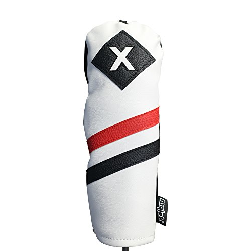 Majek Retro Golf Headcover White Red and Black Vintage Leather Style X Fairway Wood Head Cover Classic Look, Wheel Tag Includes Numbers 3 through 7 plus X