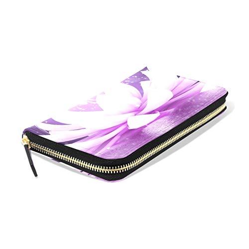 Long Ladies TIZORAX Clutch Wallets PU Purse Wallet Leather Women for Girl Lotus Flower Zipper 8nqpwTIqW