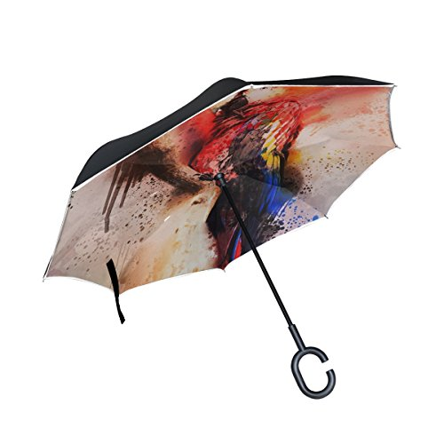 - IIAKXNB Double Layer Inverted Bird Colorful Macaw Red Blue Spray Painting Umbrellas Reverse Folding Umbrella Windproof Uv Protection Big Straight Umbrella For Car Rain Outdoor With C-shaped Handle