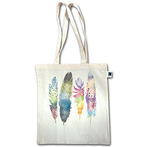 Look Bohémien - Piume Piume Acquerello Acquerello - Unisize - Natural - Xt600 - Manici Lunghi In Juta Bag