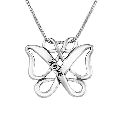 Family Sterling Loving Silver Pendant (Loving Family 925 Silver Infinite Hope Celtic Butterfly Pendant - 18
