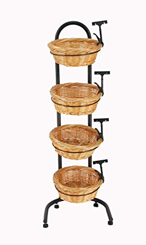 4 Tier Basket Stand, Sign Clips, Wicker Grocery Store Rack Display 15603 (Tiered Basket Floor Stand)