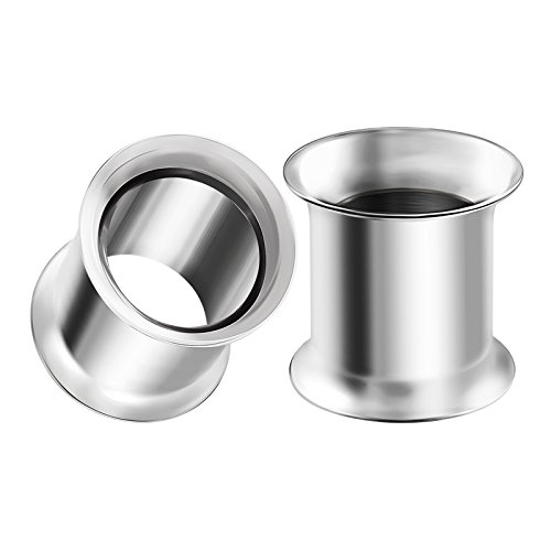 BIG GAUGES Pair 316L Surgical Steel 00g Gauge 9mm Double Flared Piercing Jewelry Stretcher Ear Plug Earring Lobe Tunnel BG0100