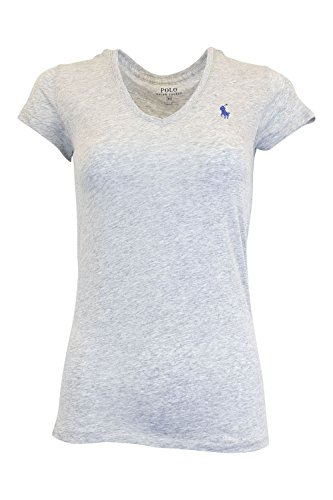 Ralph Lauren Sport Women's Lightweight V-neck T-shirt (X-Large, Gray)