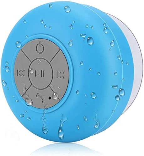 WYNCO Bathe Speaker Bluetooth Waterproof Water Resistant Fingers-Free Moveable Wi-fi, Constructed-in Microphone, Stable Suction Cup, Lengthy Play Time (Blue/Gray)