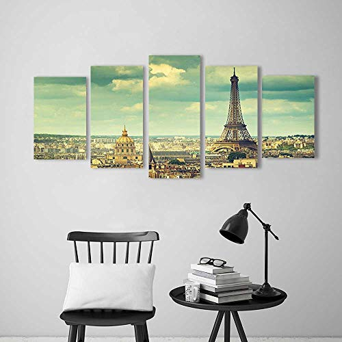 Color 5 Piece Wall Art Painting Frameless Paris France Decor Collection Europe Famous Church and Cityscape Aerial View Print Accessories Hotel Office Decor Gift ()